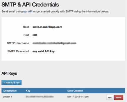 Mandrill – free SMTP server for applications